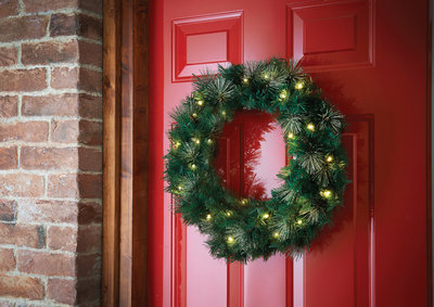 60cm Pre-Lit Glitter Wreath