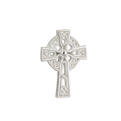 RHODIUM PLATED CELTIC CROSS COMMUNION CLUTCH PIN (BOXED)
