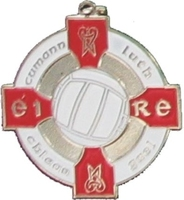 34mm Gaelic Football Medal - Silver / Red