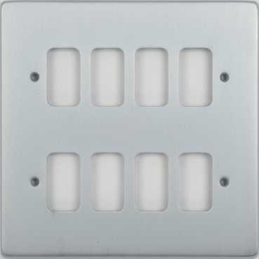 Schneider Ultimate Low Profile Grid Plate 8 gang Brushed Chrome | LV0701.1260