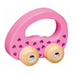 Wooden push & roll toddler toy - pink car with hearts