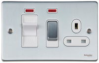 Schneider Ultimate Low Profile small cooker switch with neon Brushed Chrome with White Insert | LV0701.0218