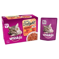 Whiskas 1+ Pouch Pure Delights Meaty Selection in Jelly 85g 12-Pack x 4