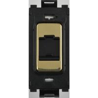 Flatplate Grid Polished Brass Telephone Point Module LV0701.1337
