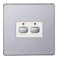 MiHome Smart Polished Chrome 2 Gang Light Switch