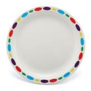 "Large Patterned Plate Pebbles Polycarbonate 9"" 23cm"