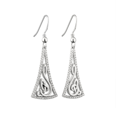 S/S CZ LONG CELTIC DROP EARRINGS(BOXED)