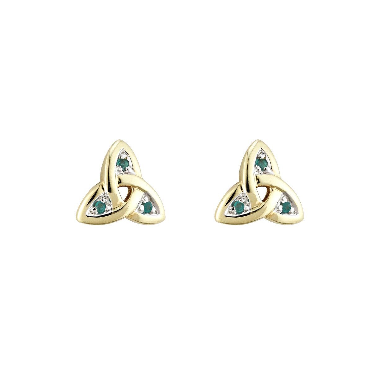 14K gold emerald trinity knot stud earrings s3006 from Solvar