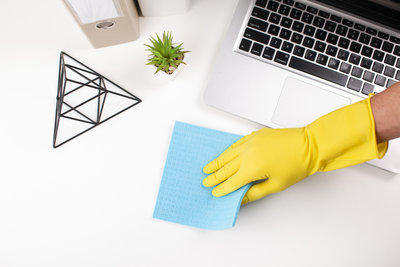 Avoid germ spots by cleaning workspace regularly