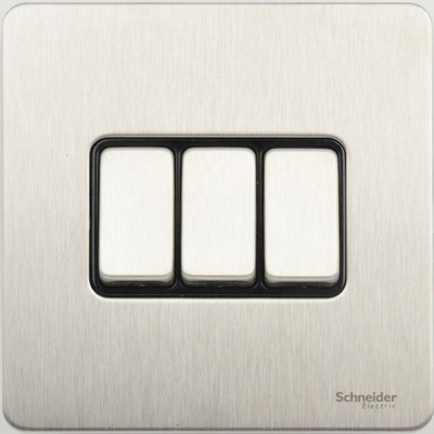 Schneider Ultimate Screwless 3Gang 2way Switch Stainless Steel Black|LV0701.0910