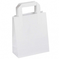 "Flat Handle Carrier Bag White 10"" x 15.5"" x 12.5"""