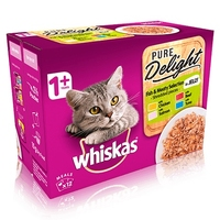Whiskas 1+ Pouch Pure Delights Fishy & Meaty Selection in Jelly 85g 12-Pack x 4