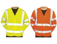 Hi-Visibility Long Sleeve Vest Class 3 Yellow or Orange