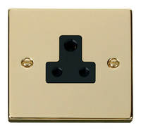 Click Deco Victorian Polished Brass with Black Insert 5Amp Socket | LV0101.0182