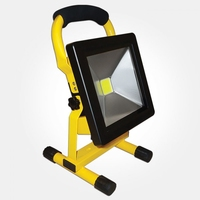 20W IP65 YELLOW PORTABLE RECHARGEABLE LED FLOODLIGHT 115LM/W 6000K 2300 LUMEN 4 HOUR BATTERY TIME
