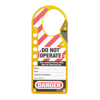 Master Lock Labeled snap-on lockout hasp, yellow, 44,5mm x 54mm jaw clearance