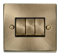 Click Deco Victorian Antique Brass with Black Insert 3 Gang 2 Way 'Ingot' Switch | LV0101.0007