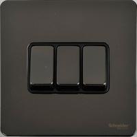 Schneider Ultimate Screwless 3Gang 2way Switch Black Nickel black|LV0701.0909