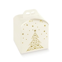 BOX GIFT/CAKE WH / GOLD STARS 20X20X18CM