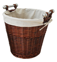 MANSION HONEY ROUND WILLOW BASKET WITH ALUMINIUM EFFECT HANDLES