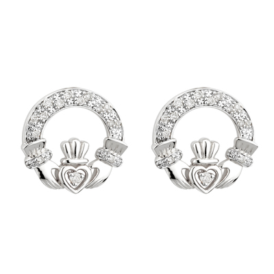 14KW DIAMOND CLADDAGH EARRINGS