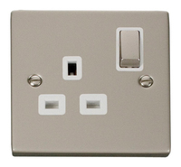 Click Deco Victorian Pearl Nickel with White Insert  Single switched Socket | LV0101.0132