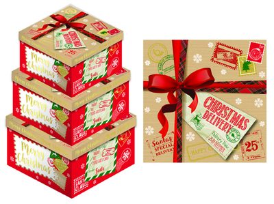 CHRISTMAS PARCEL SET OF 3 SQUARE BOX