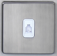 DETA Screwless RJ11 data plate Satin Chrome White Insert | LV0201.0200