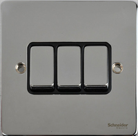 Schneider 'Ultimate Low Profile 3gang switch Polished Chrome with Black Insert  | LV0701.0058
