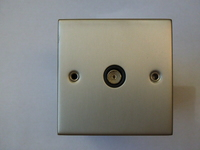 1 Gang Co-Axial Socket Satin Chrome