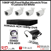 4 Camera CCTV 1080p Fixed Bullet Kit - White
