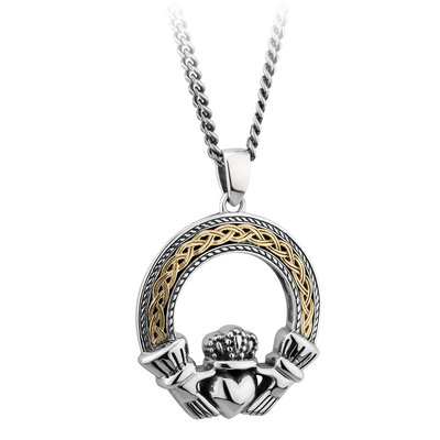 SILVER & 10K GOLD OXIDISED CELTIC CLADDAGH PENDANT (BOXED)