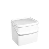 Pail And Snap On Lid - 10 Ltr, Square With Plastic Handle, X25, White