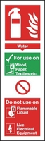 Water Fire Extinguisher Instruction Sign