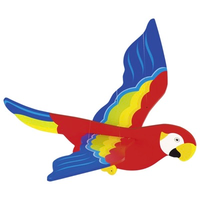 Colourful wooden parrot mobile for above a crib