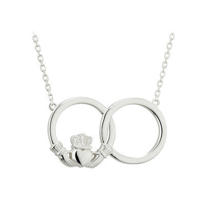 sterling silver claddagh circle necklet s46370 from Solvar