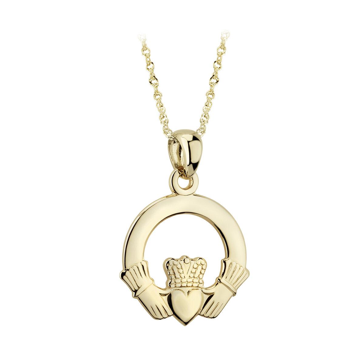 14k gold claddagh pendant s4415 from Solvar