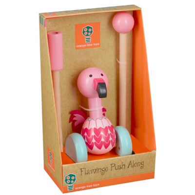 flamingo push along boxed