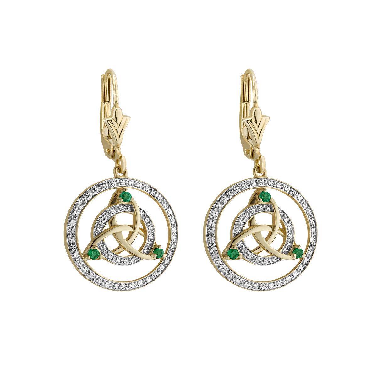 14K White & Yellow Gold Diamond & Emerald Celtic Knot Drop Earrings s34112 from Solvar