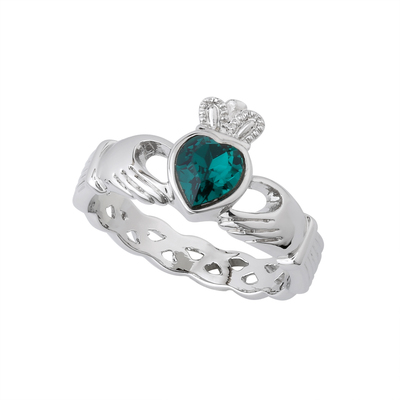 RHODIUM PLATED GREEN CRYSTAL CLADDAGH RING