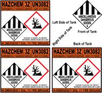 Hazchem 3Z UN3082 Diesel Tank Stickers Set of 4
