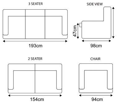 Cadiz leather sofa Dimensions