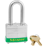 Master Lock Green laminated steel safety padlock, 40mm wide with 38mm tall shackle, keyed alike