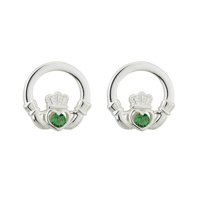 sterling silver green crystal claddagh stud earrings s33915 from Solvar