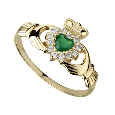 10 karat gold cubic zirconia and green arate claddagh ring