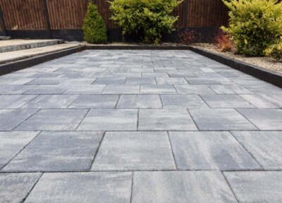 Barleystone Paving Flags Slabs Smooth Grey 400X400X40mm ( 6.25 Slabs Per Sq mtr) ** Stocked Product**