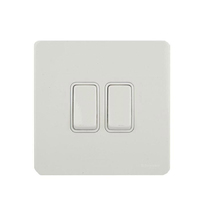 DETA Screwless 2 Gang Switch White Metal White | LV0201.0022