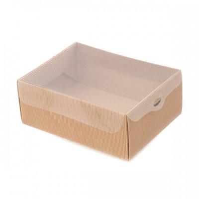 BOX GIFT/PVC LID 300X230X80MM  NAT.CORREGATE