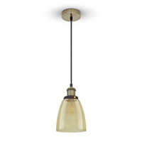 Vintage Glass Pendant Light Amber Ф140