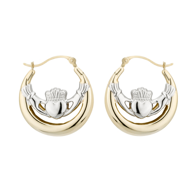 14K TWO TONE LARGE CLADDAGH CREOLES